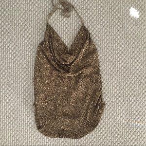 HAUTE HIPPIE Gold Beaded Silk Halter Top